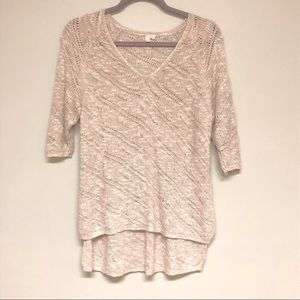 Eileen Fisher Off White Crocheted 3/4 sleeve Top